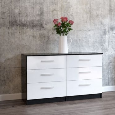 Delicieux Lynx Black U0026 White 6 Drawer Chest
