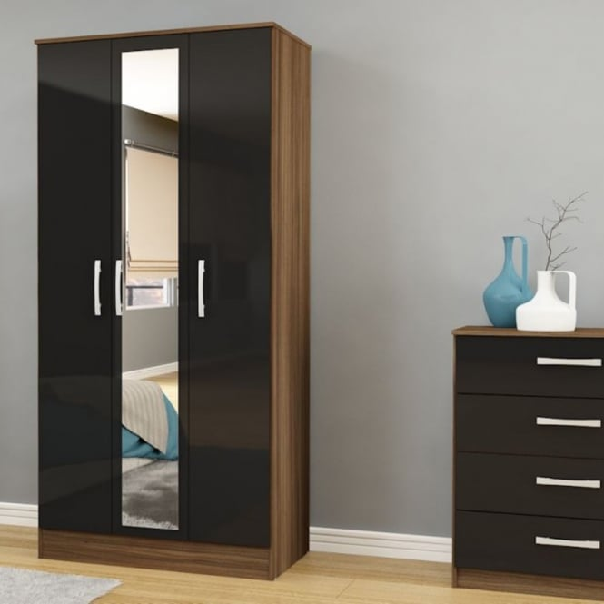 Birlea Furniture Lynx Walnut & Black 3 Door Wardrobe