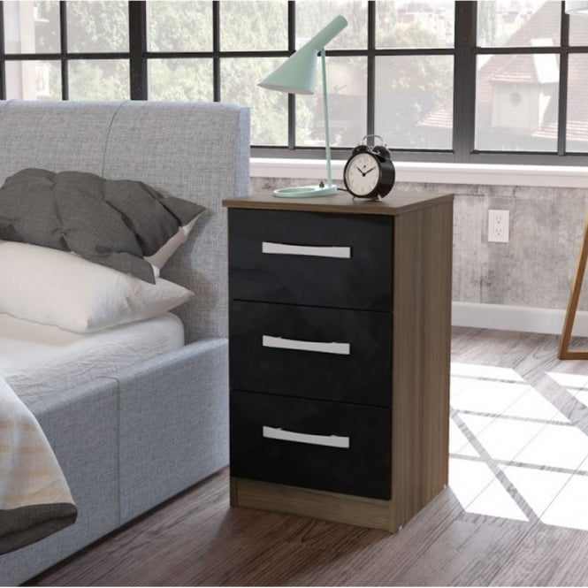 Birlea Furniture Lynx Walnut & Black 3 Drawer Bedside