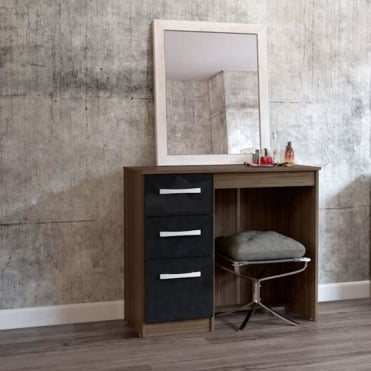 Lynx Walnut & Black 3 Drawer dressing table