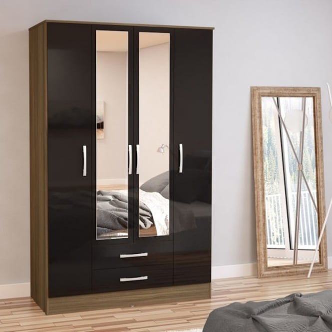 Birlea Furniture Lynx Walnut & Black 4 Door 2 Draw Wardrobe