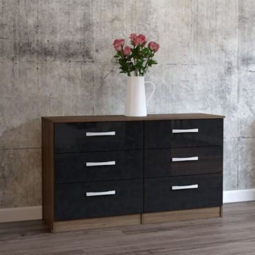Lynx Walnut & Black 6 Drawer Chest