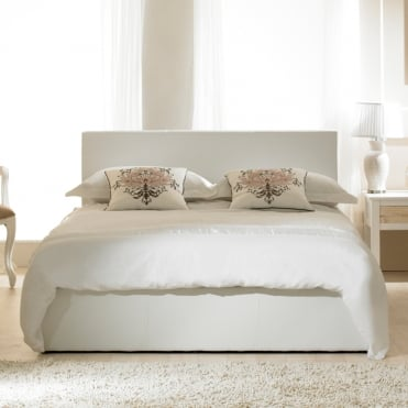 Madrid 6ft Super King Size White Faux Leather Bed