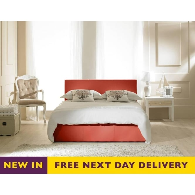 Emporia Madrid Red Faux Leather 5ft King Size Storage Bed
