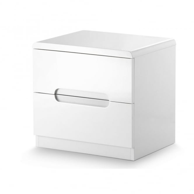 Julian Bowen Manhattan 2 Drawer White Bedside Cabinet MAN201