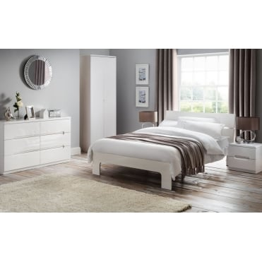 Manhattan 4ft6 Double High Gloss White Lacquered Bed