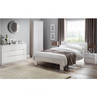 Manhattan 5ft King Size High Gloss White Lacquer Finish Bed
