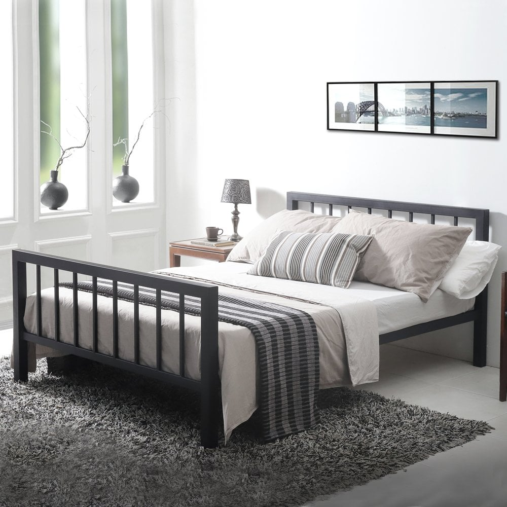 sale Metro 4ft small double black metal bed   cheapest ...