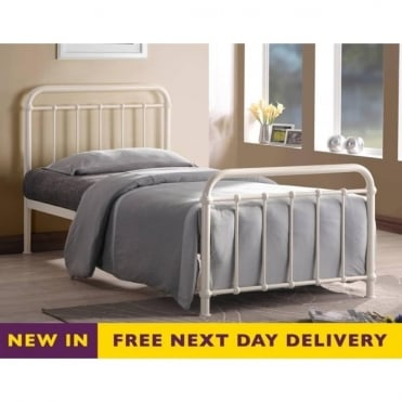 MIA4 Miami 4ft Small Double Ivory Metal Bed