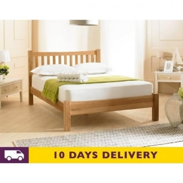 Milan 4ft6 Double Solid Oak Wooden Bed