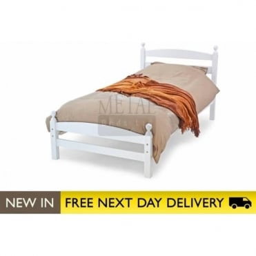 Moderna White 3ft Single Wooden Bed