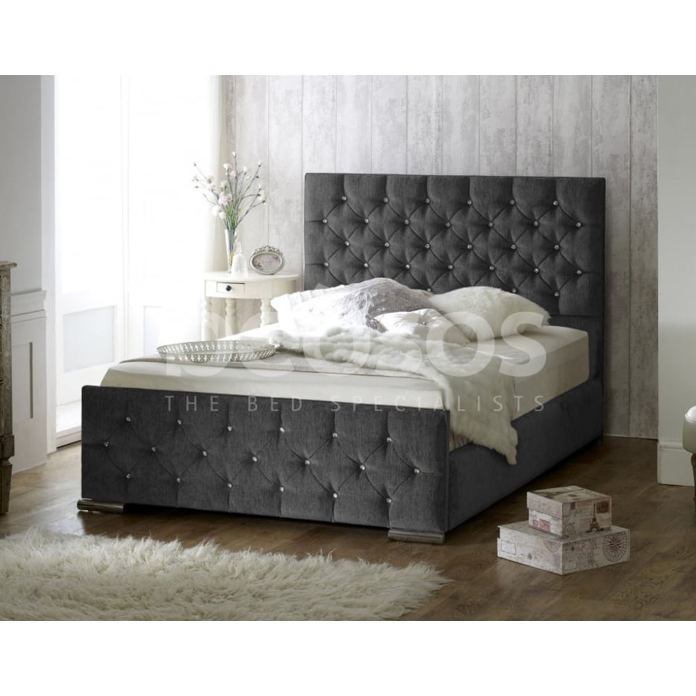 Monza Italia Latina 3ft Single Charcoal Chenille Fabric Bed # Meuble Tv Monza