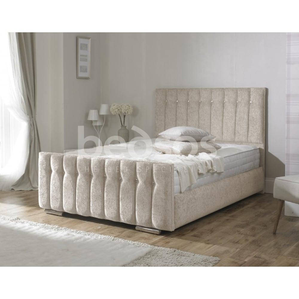 Monza Italia TURIN 5FT CREAM Turin 5ft King Size Cream Chenille Bed. Monza Italia Turin 5ft king size cream chenille fabric upholstered