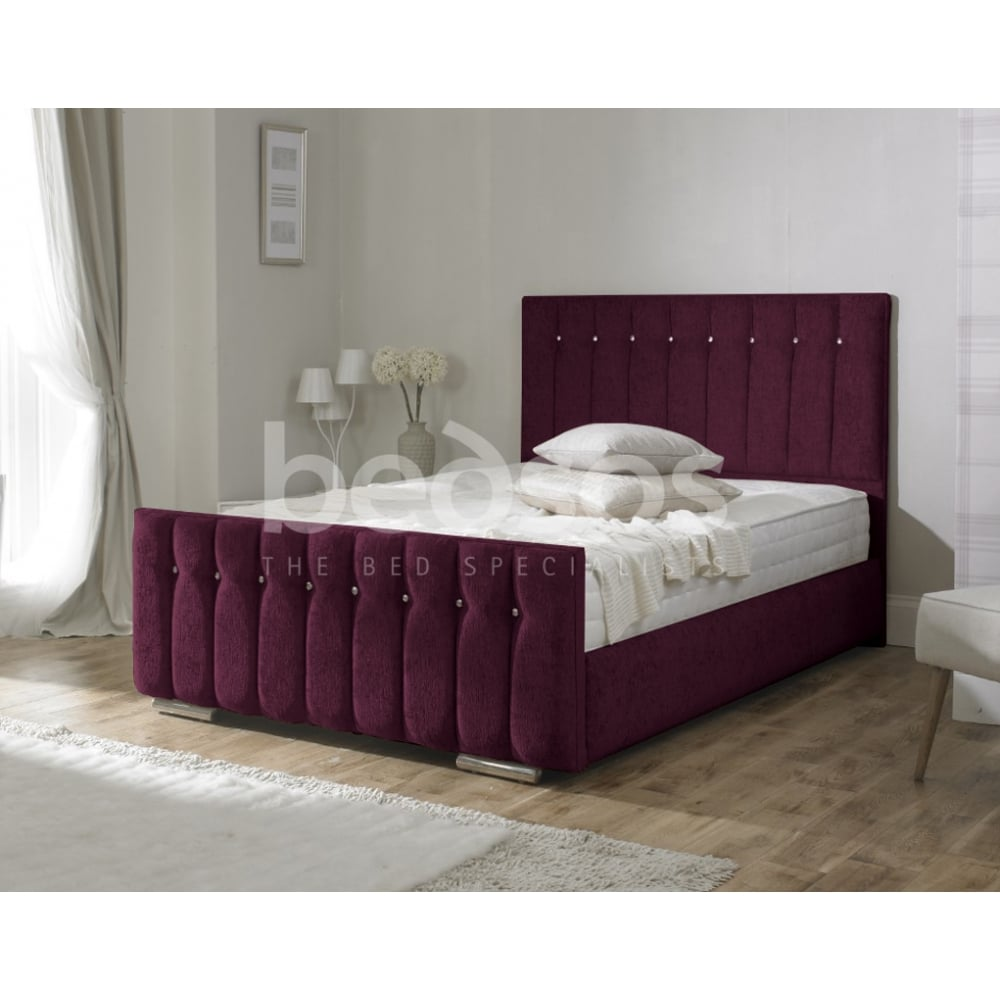 Monza Italia Turin 6ft Super King Size Burgundy Chenille Fabric  # Meuble Tv Monza