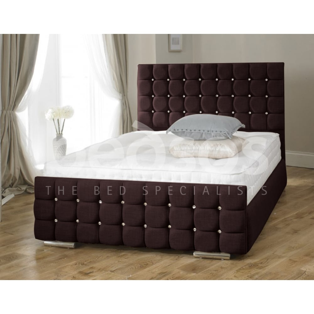 Monza Italia Venice 5ft King Size Brown Chenille Fabric Bed # Meuble Tv Monza