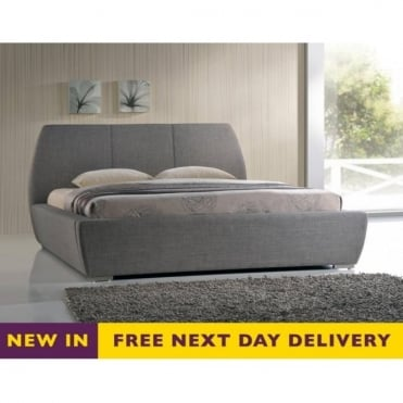 NAX5GREY Naxos 5ft King Size Grey Fabric Bed