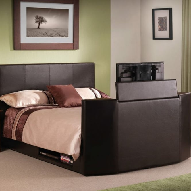 Julian Bowen Optika 5ft King Size Brown Faux Leather TV Bed
