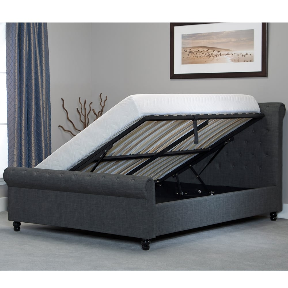 cheapest oxgy60 oxford 6ft super king size grey storage bed. Black Bedroom Furniture Sets. Home Design Ideas
