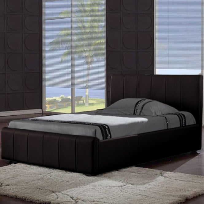 Harmony Pisa 4ft6 Double Brown Faux Leather Bed
