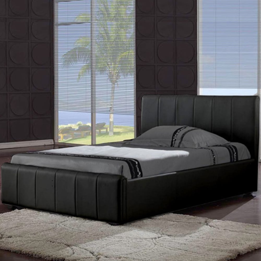 Discounted Pisa 5ft King Size Black Faux Leather Bed And Harmony