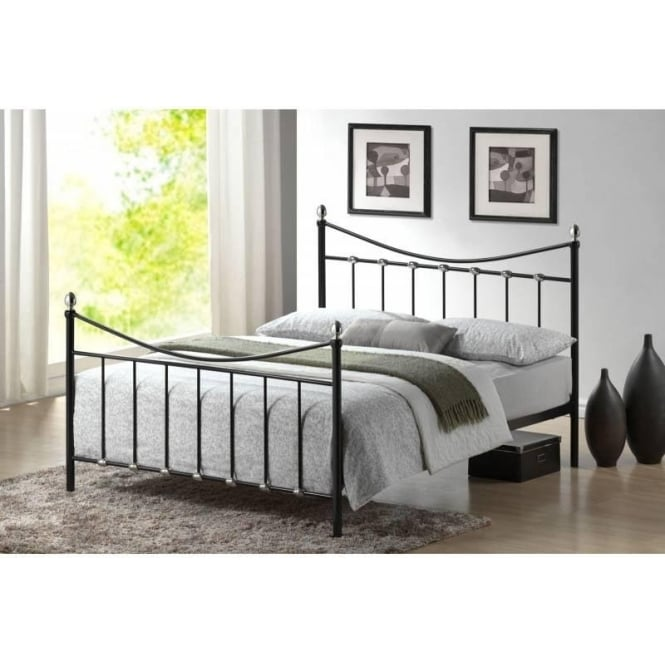 Time Living 4ft6 Double Bed Black Metal - Oban