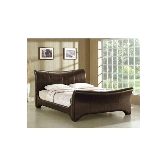 Time Living Wave 5ft King Size Brown Faux Leather Bed