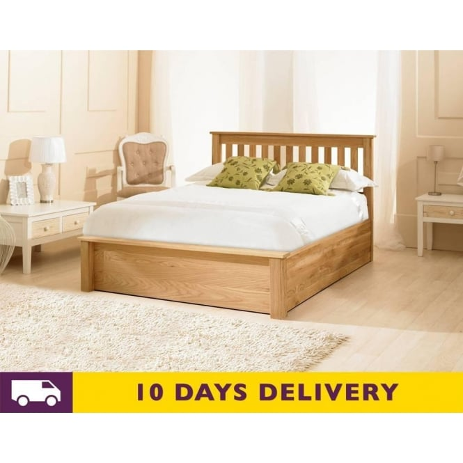 Emporia 6ft Super King Size Monaco Oak Ottoman Storage Bed - Cheapest Monaco 6ft Super King Size Oak Wooden Storage Bed UK