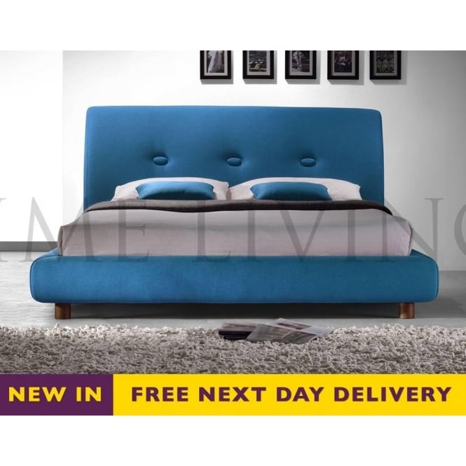 Time Living Exclusive Sache 4ft6 Double Teal Fabric Bed