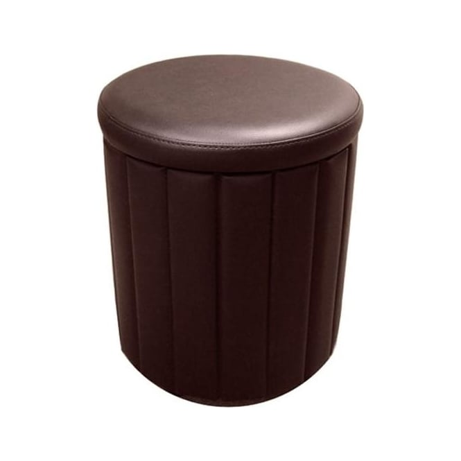 Time Living Milano Storage Stool Brown Faux Leather