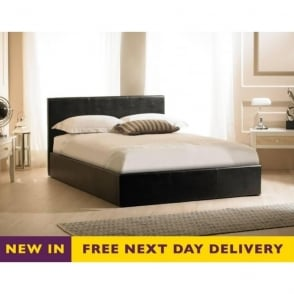 Madrid Ottoman 4ft6 Black Faux Leather Storage Bed