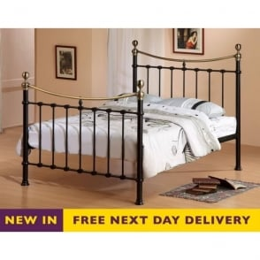 Elizabeth 4ft6 Double Black and Brass Metal Bed