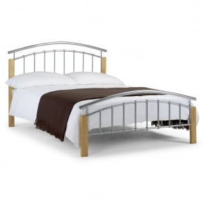 Julian Bowen Aztec 4ft6 Double Metal and Oak Bed Frame