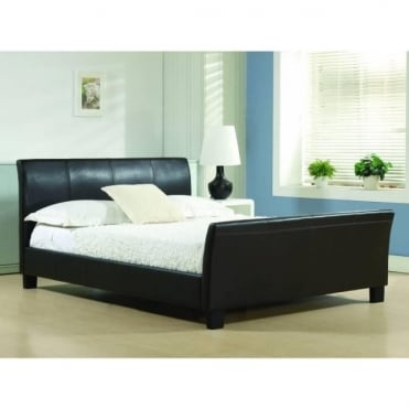 4ft6 Double Bed Brown Faux leather - Winchester