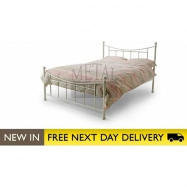 4ft Small Double Bed Ivory Metal - Bristol