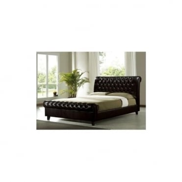 4ft6 Double Bed Dark Brown Faux leather - Richmond