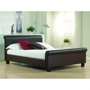 4ft6 Double Bed Brown Real Leather - Aurora