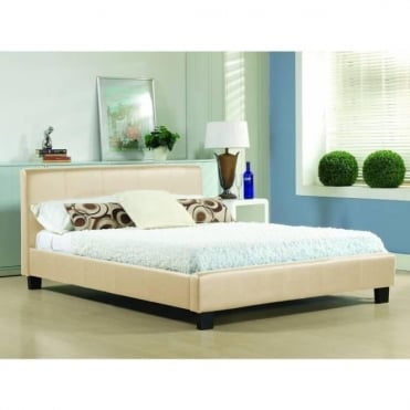 5ft King Size Bed Cream Faux leather - Hamburg