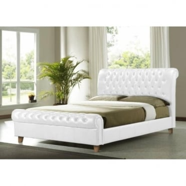 4ft6 Double Bed White Faux leather – Richmond