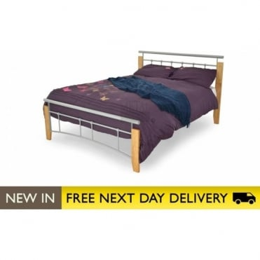4ft Small Double Bed Beech & Silver Metal - Kentucky