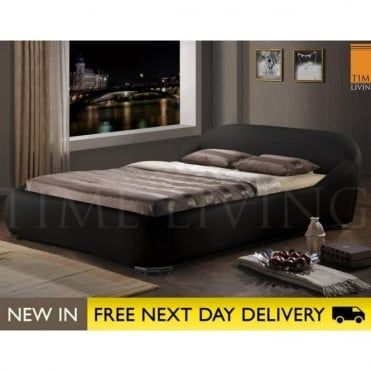 Manhattan 4ft6 Black Faux Leather Bed MAN46BLK