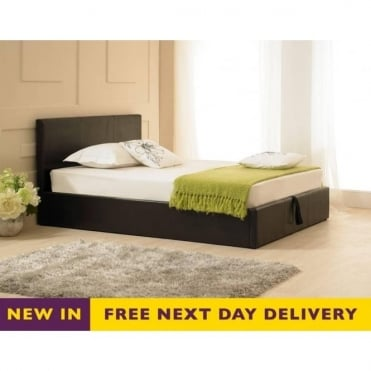 Madrid 3ft Single Ottoman Brown Faux Leather Bed