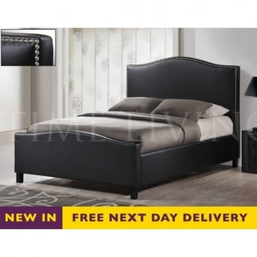 Tuxford 4ft6 Double Black Faux Leather Bed