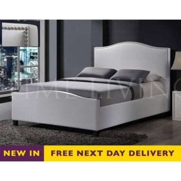 Tuxford 4ft6 Double White Faux Leather Bed