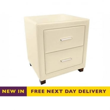 Dorset Cream Faux Leather Two Drawer Bedside Cabinet