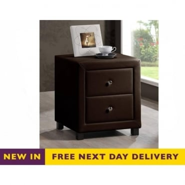 Chelsea Brown Faux Leather Two Drawer Bedside Cabinet