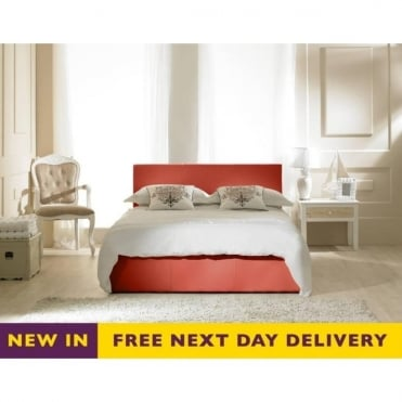 Madrid 4ft6 Double Red Faux Leather Storage Bed