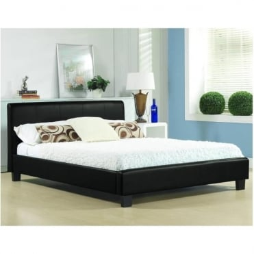 3ft Single Bed Black Faux Leather - Hamburg