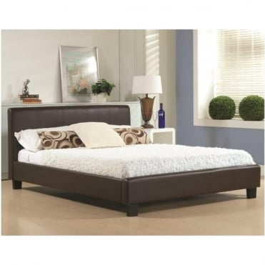 3ft Single Bed Brown Faux Leather - Hamburg