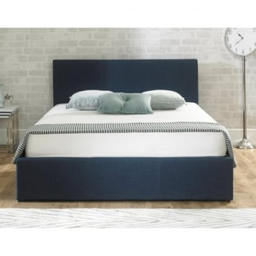 Stirling 5ft King Size Blue Fabric Ottoman Storage Bed