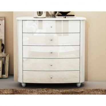 AZT-CWHT Aztec White 5 Drawer Wide Chest